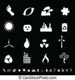 környezet, energia, kitakarít, ikonok