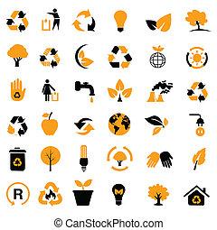 környezeti, újrafelhasználás, /, ikonok
