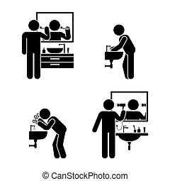 körperpflege, satz, badezimmer
