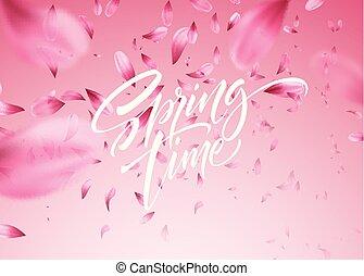 körsbär blomstra, kronblad, illustration, fjäder, vektor, bakgrund, tid, lettering.