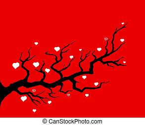 körsbär träd, röd, illustration