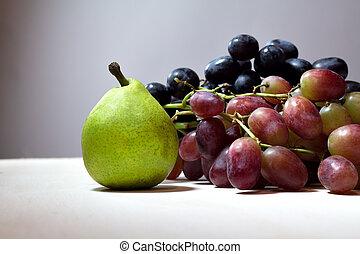 körte, élet, mozdulatlan, grapes..