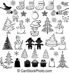 körvonal, állhatatos, fekete, karikatúra, karácsony
