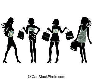 körvonal, bevásárlás, nők