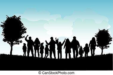 körvonal, család