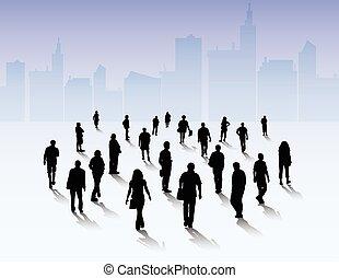 körvonal, emberek, szabadban