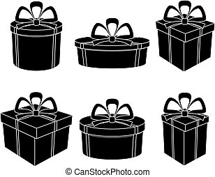 körvonal, fekete, dobozok