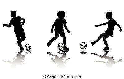 körvonal, futball, gyerekek