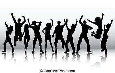 körvonal, közül, emberek, tánc