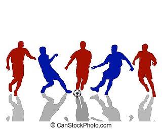 körvonal, közül, futball játékos