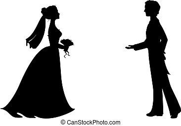 körvonal, közül, menyasszony inas