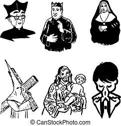 körvonal, katolikus, ábra, vektor