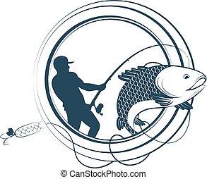 körvonal, rúd, halászat
