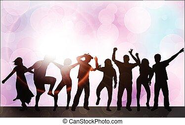 körvonal, tánc, emberek