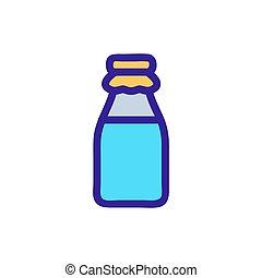 körvonal, vector., ábra, fej palack, jelkép, elszigetelt, ikon