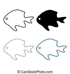 körvonal, vektor, fish-, ábra