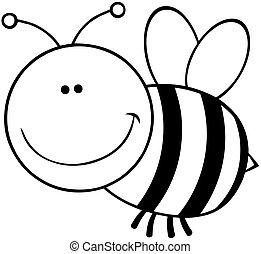 körvonalazott, betű, karikatúra, méh