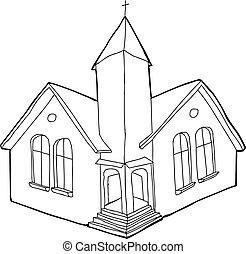 körvonalazott, keresztény, templom