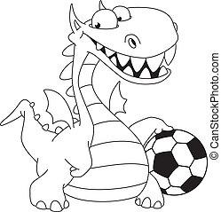 körvonalazott, labda, sárkány