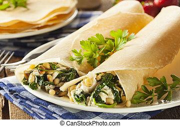 köstlich , selbstgemacht, spinat, und, feta, bohnenkraut,...