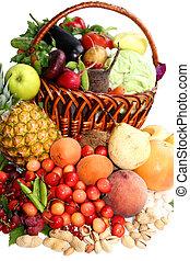 köstlich , vegetatives , composition., stilleben, aus, der, weißer hintergrund