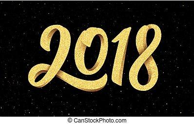 köszönés, 2018, év, új, kézírás, kártya