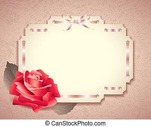 köszönés kártya, alatt, retro mód, noha, rózsa