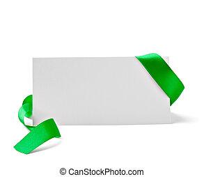 köszönés kártya, noha, szalag, jegyzet, karácsony