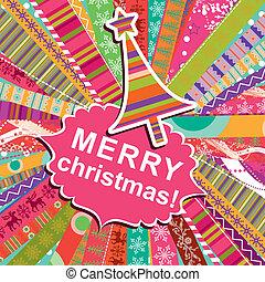 köszönés, tervezés, példa, vektor, scrapbook, karácsonyi üdvözlőlap