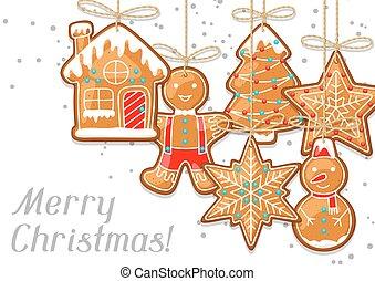 köszönés, vidám, függő, gyömbéres mézeskalács, karácsonyi üdvözlőlap