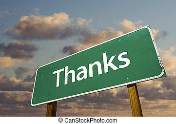 köszönet, zöld, út cégtábla, felett, elhomályosul