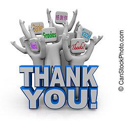 köszönjük, alatt, különböző, nemzetközi, nyelvek