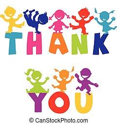 köszönjük, fogalom, noha, boldog, gyerekek