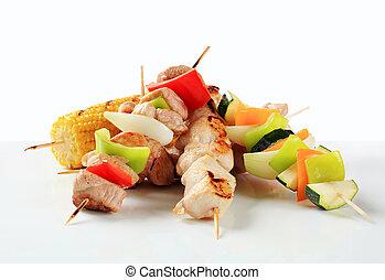 kött, och, grönsak, steknålar