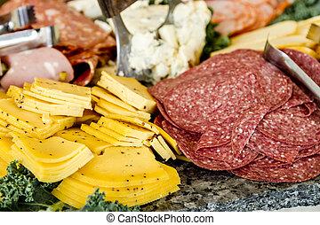 kött, och ost, parti, bricka