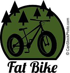 kövér, bicikli, hegy, bicikli