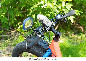 kövér, bike-mountain, bicikli, noha, sűrű, gumiabroncsok, alatt, erdő