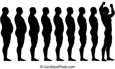kövér, to megfelel, előbb, után, diéta, súlyozott kár, siker