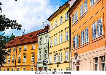 kövezet, épületek, strago, alacsony, utcák, európa, öreg, stones., város, sokszínű, prague., építészet, megkövez