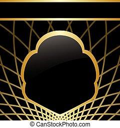 középcsatár, arany, keret, -, vektor, black háttér