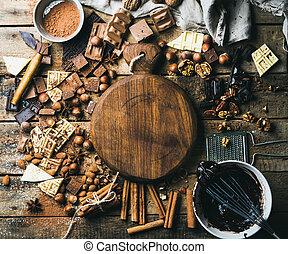 középcsatár, fából való, kakaó, diók, por, csokoládé, bizottság, fűszeráruk