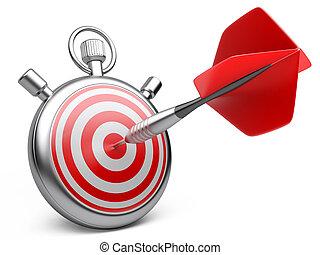 középcsatár, marketing, concept., ábra, hajít, csapó, stopwatch., fehér, stratégia, céltábla, 3
