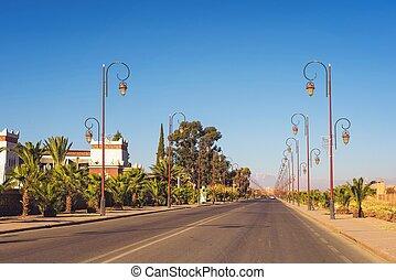 középcsatár, ouarzazate, marokkó, utca lámpa, elegáns, út, evez