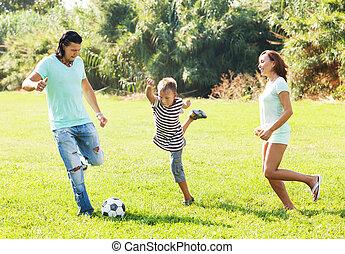 középkorú, párosít, és, tizenéves, játék, noha, labda