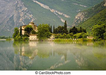 középkori, bástya, képben látható, toblino, tó, trentino,...