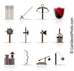 középkori, fegyver, és, kifogásol, ikonok