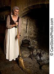 középkori, hajadon, kandalló, takarítás, antik