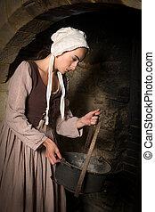 középkori, kandalló, nő, paraszt