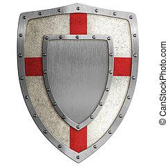 középkori, keresztes vitéz, pajzs, ábra
