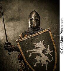 középkori, lovag, noha, kard, és, pajzs, ellen, kőfal